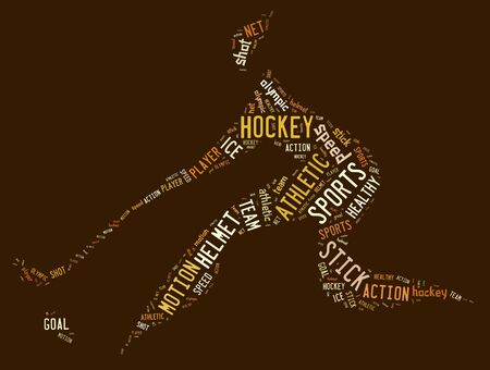 hockey pictogram with brown words on brown background photo