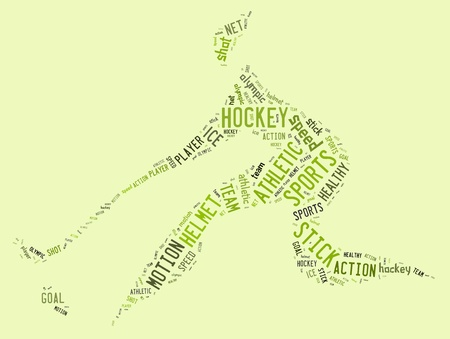 hockey pictogram with green words on green background photo
