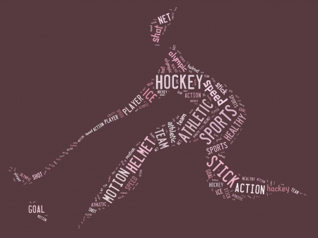 hockey pictogram with pink words on pink background