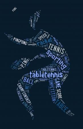 青の背景に青の言葉で卓球ピクトグラム