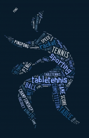 Table tennis pictogram with blue words on blue background photo