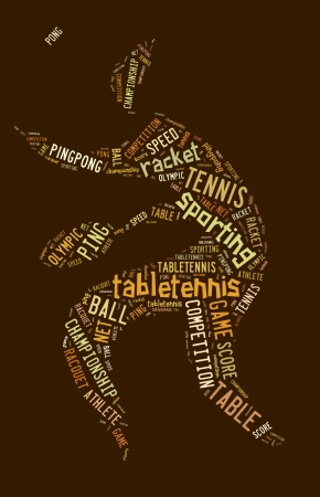 Table tennis pictogram with brown words on brown background photo