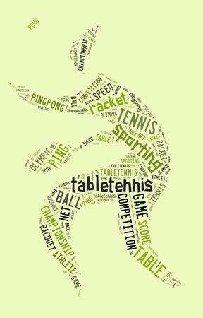 緑の背景に緑色の言葉と卓球のピクトグラム