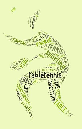 Table tennis pictogram with green words on green background photo