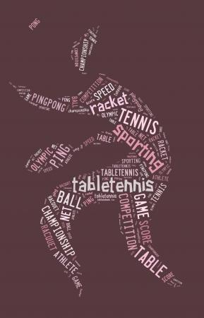 ピンクの背景にピンクの言葉で卓球ピクトグラム