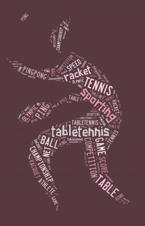 Table tennis pictogram with pink words on pink background photo