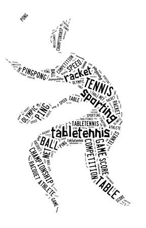 白い背景に黒の言葉で卓球ピクトグラム