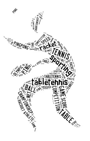 Table tennis pictogram with black words on white background photo