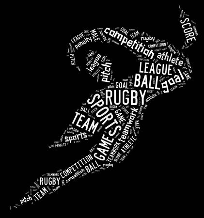 wordings: rugby football pictogram with white wordings on black background