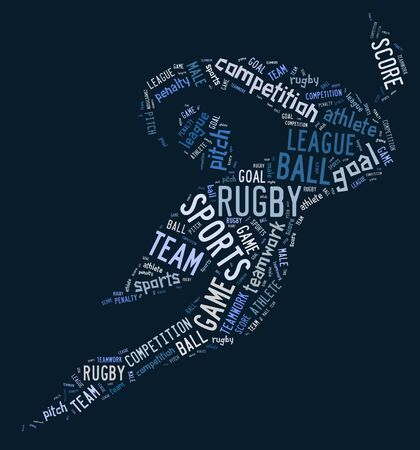 wordings: rugby football pictogram with blue wordings on blue background