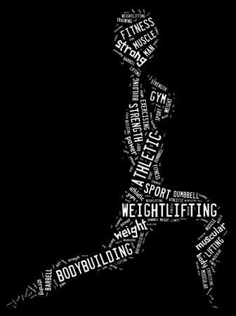 wordings: weighlifting pictogram with white wordings on black background