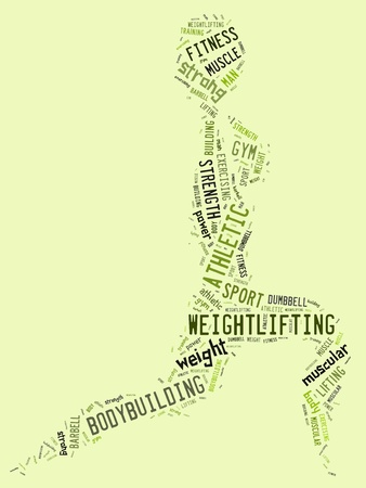 weighlifting pictogram with green wordings on green background photo