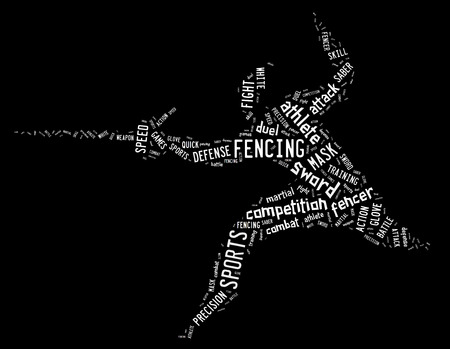 wordings: fencing pictogram with white colored related wordings on black background Stock Photo