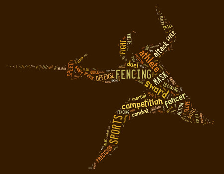 wordings: fencing pictogram with brown colored related wordings on brown background