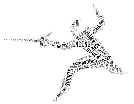 白い背景に黒の着色された関連文言とピクトグラムのフェンシング