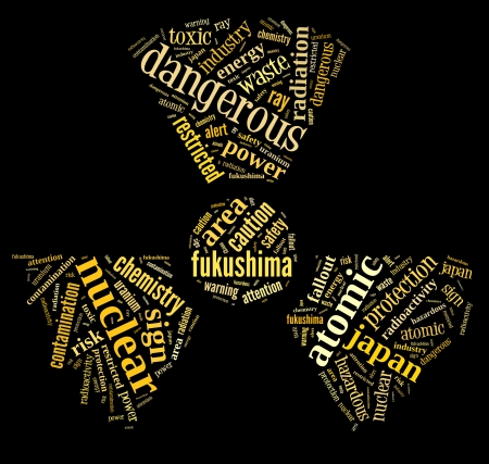 nuclear contamination warning sign word cloud on fukushima with yellow wordings on black background Stock Photo - 24565988