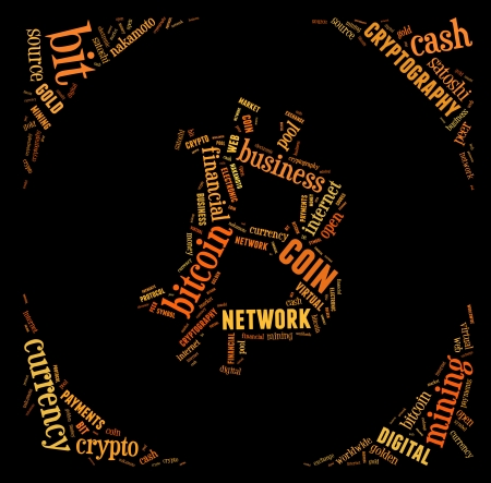 bitcoin logo word cloud with orange wordings on black background