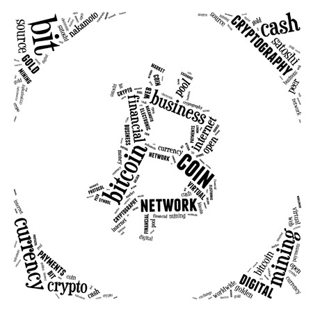 wordings: bitcoin logo word cloud with black wordings on white background