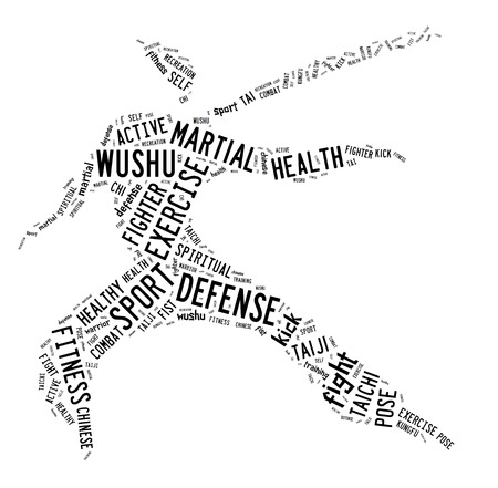 Wushu word cloud with black wordings on white background