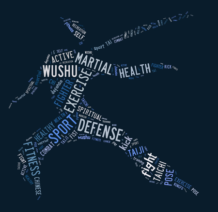 Wushu word cloud with blue wordings on blue background Stock Photo
