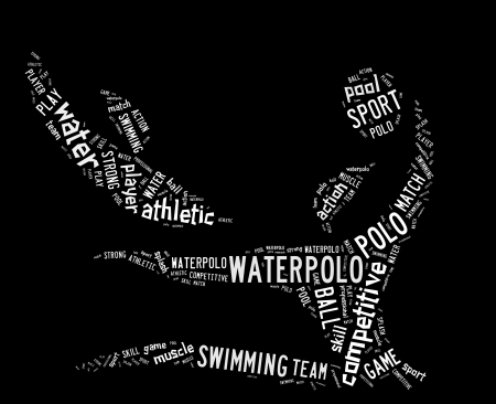 waterpolo: waterpolo word cloud with white wordings on black background