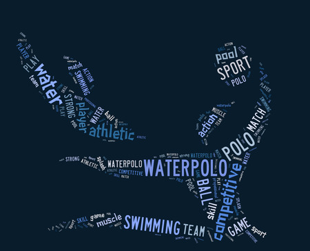 waterpolo: waterpolo word cloud with blue wordings on blue background