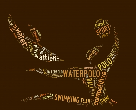 waterpolo: waterpolo word cloud with brown wordings on brown background Stock Photo