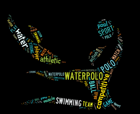waterpolo: waterpolo word cloud with colorful wordings on black background