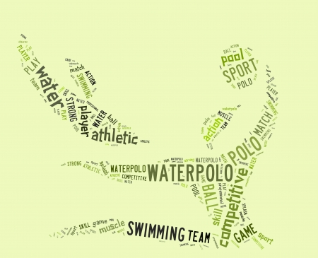 waterpolo: waterpolo word cloud with green wordings on green background