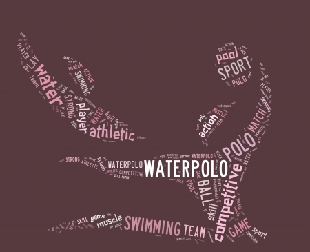 waterpolo: waterpolo word cloud with pink wordings on pink background Stock Photo