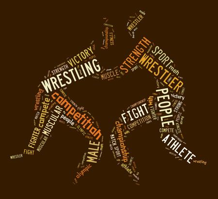 wordings: wrestling word cloud with brown wordings on brown background