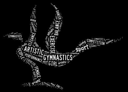 Gimnasia artística pictograma con formulaciones blancas sobre fondo negro Foto de archivo - 30507270