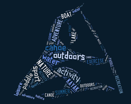青の背景に青の文言とカヌーのピクトグラム