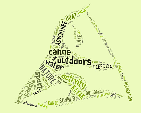 wordings: canoe pictogram with green wordings on green background Stock Photo