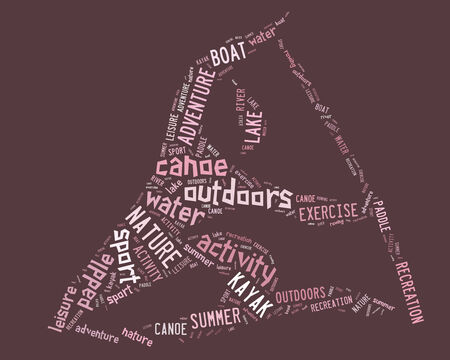 canoe pictogram with pink wordings on pink background
