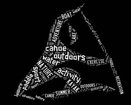 black white kayak: canoe pictogram with white wordings on black background Stock Photo