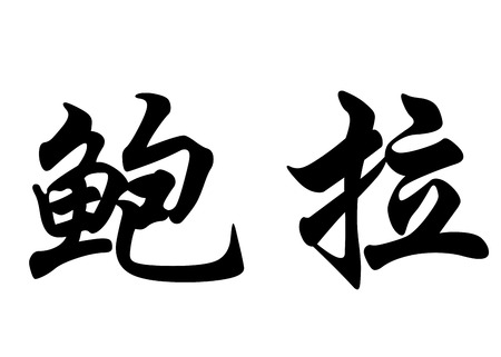 surname: English name Bora in chinese kanji calligraphy characters or japanese characters