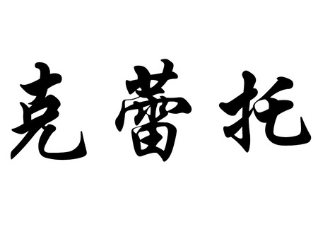 surname: English name Cleto in chinese kanji calligraphy characters or japanese characters