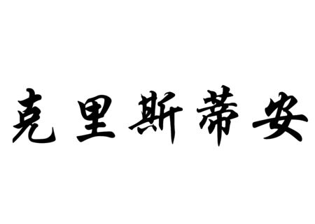 English name Cristhiam or Cristhian or Cristian in chinese kanji calligraphy characters or japanese characters