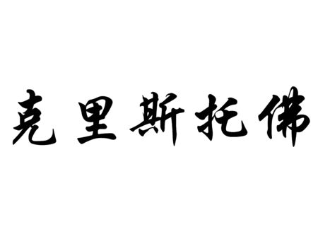 surname: English name Cristofol or Cristofor in chinese kanji calligraphy characters or japanese characters