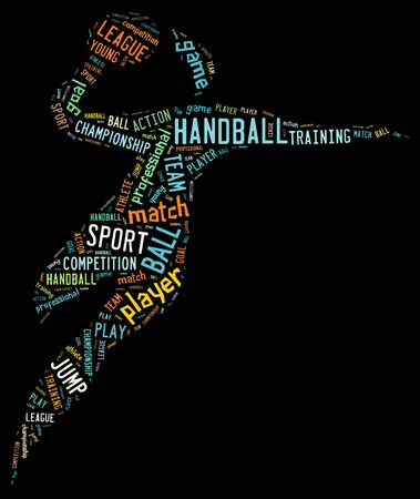 Handball pictogram with colorful wordings on dark background