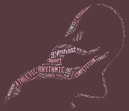 rhythmic gymnastic: rhythmic gymnastic pictogram with pink wordings on pink background Stock Photo