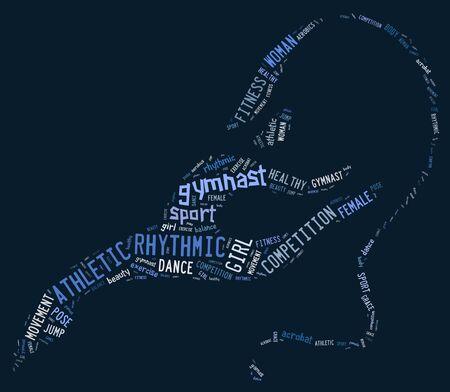 rhythmic gymnastic: pictograma de gimnasia r�tmica con expresiones azules sobre fondo azul Foto de archivo