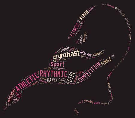 rhythmic gymnastic: pictograma de gimnasia r�tmica con expresiones de color rosa sobre fondo gris