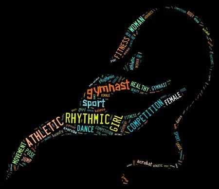 rhythmic gymnastic: pictograma de gimnasia r�tmica con redacciones colores sobre fondo oscuro