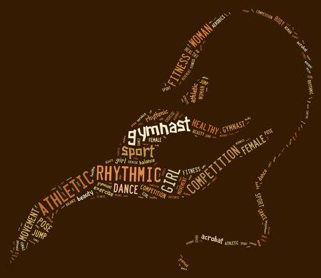 rhythmic gymnastic: rhythmic gymnastic pictogram with brown wordings on brown background