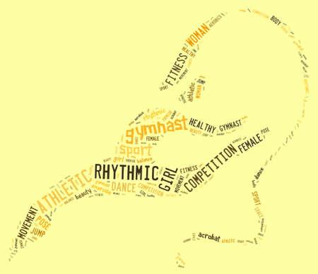 rhythmic gymnastic: pictograma de gimnasia r�tmica con redacciones amarillas sobre fondo amarillo