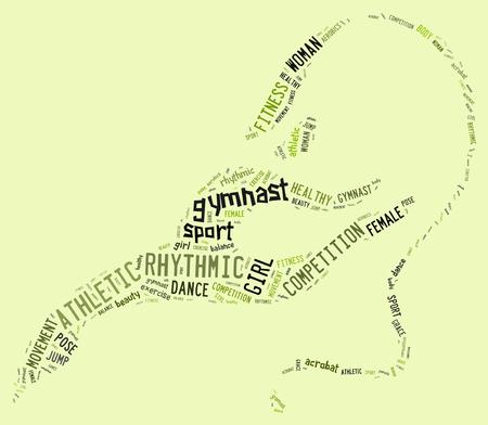 rhythmic gymnastic: pictograma de gimnasia r�tmica con formulaciones verdes sobre fondo verde
