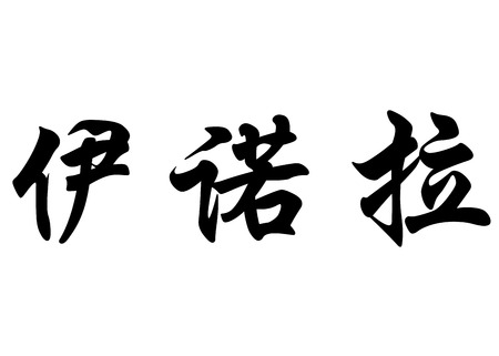 English name Enora in chinese kanji calligraphy characters or japanese characters