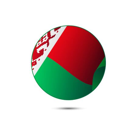 shiny buttons: Belarus flag button on a white background.  illustration.